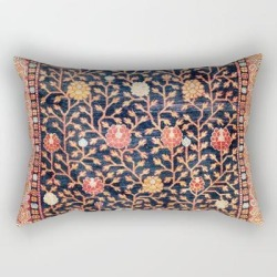 Rectangular Pillow | Silk Khotan East Turkestan Rug Print by Vicky Brago-mitchella(r) - Small (17
