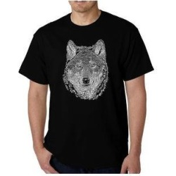 Men's Word Art T-shirt - Wolf (Black - L) found on Bargain Bro from Overstock for USD $21.65