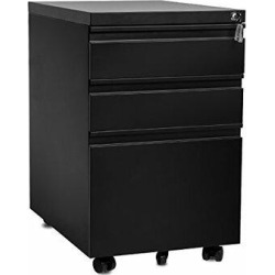 Inbox Zero Ona 3-Drawer Mobile Vertical Filing Cabinet Metal/Steel in Black, Size 24.0 H x 16.0 W x 21.0 D in | Wayfair found on Bargain Bro Philippines from Wayfair for $232.99