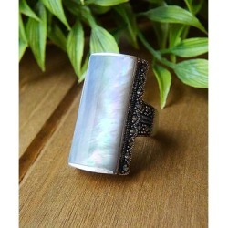 Vera & Co. Women's Rings - Mother-of-Pearl & Marcasite Rectangle Ring found on MODAPINS from zulily.com for USD $29.99