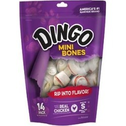 Dingo Mini Bones Dog Treats, 14 count found on Bargain Bro from Chewy.com for USD $5.31
