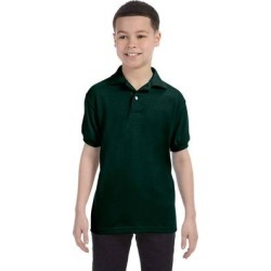 Hanes 054Y Youth 5.2 oz. 50/50 EcoSmart Jersey Knit Polo Shirt in Deep Forest Green size XL | Cotton Polyester found on Bargain Bro from ShirtSpace for USD $5.34