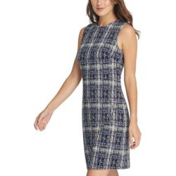 petite DKNY Womens Plaid Textured Sleeveless Blue Size 14 Sheath Dress (14), Women's(cotton) found on Bargain Bro from Overstock for USD $37.98