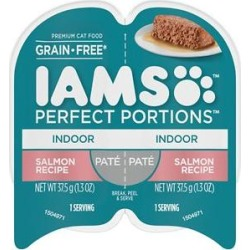 Iams Perfect Portions Indoor Salmon Recipe Pate Grain-Free Cat Food Trays, 2.6-oz, case of 24 twin-packs