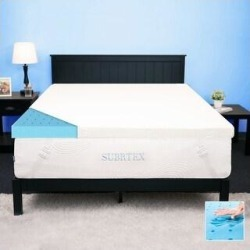 Subrtex 2,3, or 4 inches Gel-Infused Memory Foam Bed Mattress Topper (Twin- With Cover - 4 Inch), Green found on Bargain Bro from Overstock for USD $116.65