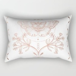 Rectangular Pillow | Magical Moth In Rose Gold by Mermaid & Unicorn - Small (17