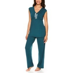 Lamaze Maternity Intimates Women's Sleep Bottoms DT - Dark Teal Lace-Detail Nursing Pajama Set found on Bargain Bro India from zulily.com for $18.99