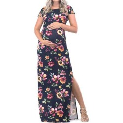 Mother Bee Maternity Women's Maxi Dresses Navy-07 - Navy Floral Maternity Short-Sleeve Maxi Dress found on Bargain Bro Philippines from zulily.com for $11.99