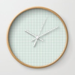 Wall Clock | Gingham In Sage by Jordyn St. John - Natural - White - Society6 found on Bargain Bro Philippines from Society6 for $25.59
