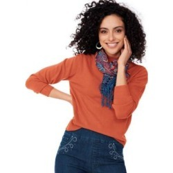 Women's Plus Cashmere-Like Long-Sleeve Sweater, Autumn Glaze Orange XL found on Bargain Bro Philippines from Blair.com for $33.99