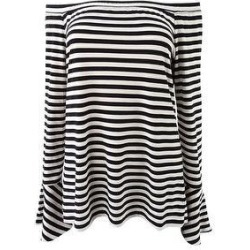 DKNY Women's Off-The-Shoulder Striped Blouse (L), Black(polyester) found on Bargain Bro Philippines from Overstock for $17.95