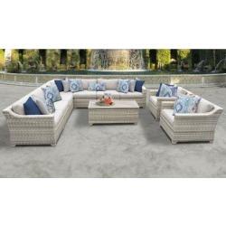 Fairmont 10 Piece Outdoor Wicker Patio Furniture Set 10a in Beige - TK Classics Fairmont-10A-Beige