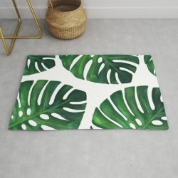 Modern Throw Rug | Watercolor Monstera Print by Jelena Milojevic - 2' x 3' - Society6 found on Bargain Bro from Society6 for USD $29.79