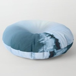 Infinite And Minimal Black Sand Beach In Iceland - Landscape Photography Floor Pillow by Michael Schauer - ROUND - 30
