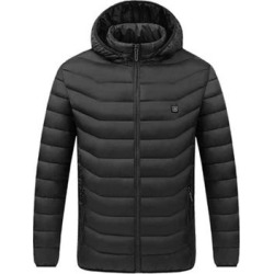 Mens Electric Heated Hooded Warm Down Cotton Jacket Coat Puffer Hiking Travel Outdoor Coat found on Bargain Bro from Overstock for USD $68.08
