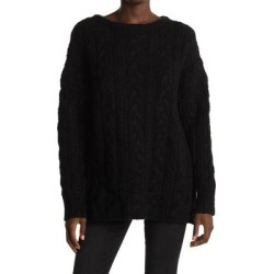 Cable Knit Wool Blend Sweater - Black - AllSaints Knitwear found on Bargain Bro Philippines from lyst.com for $97.00