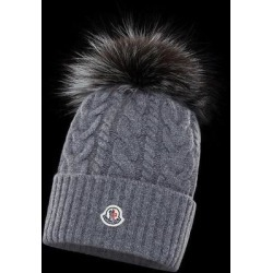 Cable-knit Beanie - Gray - Moncler Hats found on Bargain Bro from lyst.com for USD $395.20