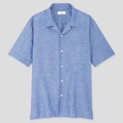 UNIQLO Men's Linen Cotton Short-Sleeve Shirt, Blue, S found on Bargain Bro India from Uniqlo for $29.90