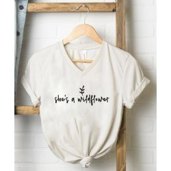 Simply Sage Market Women's Tee Shirts Dust - Dust & Black 'She's a Wildflower' V-Neck Tee - Women found on Bargain Bro India from zulily.com for $22.99