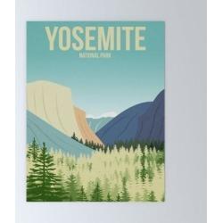 "Mini Art Print | Yosemite National Park - Travel Poster - Minimalist Art Print by Harknettprints - Without Stand - 3"" x 4"" - Society6"