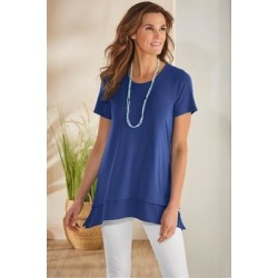 Women Willa Short Sleeve T-Shirt by Soft Surroundings, in Windsor Blue size 1X (18-20)