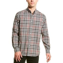 Burberry Check Poplin Woven Shirt (L), Men's, Gray found on MODAPINS from Overstock for USD $395.99