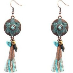 MexZotic Women's Earrings Silver/Gold - Blue Goldtone Tassel Drop Earrings found on Bargain Bro India from zulily.com for $7.99