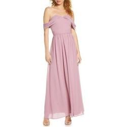 Albanie Off The Shoulder Chiffon Gown - Pink - Chi Chi London Dresses found on MODAPINS from lyst.com for USD $76.00