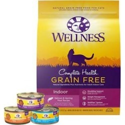 Wellness Complete Health Poultry Lovers Pate Variety Pack Grain-Free Canned Cat Food, 5.5-oz, case of 30 + Wellness Complete Health Natural Grain Free Salmon & Herring Dry Cat Food, 11.5-lb bag