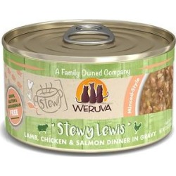 Weruva Classic Cat Stewy Lewis Lamb, Chicken & Salmon in Gravy Stew Canned Cat Food, 2.8-oz can, case of 12