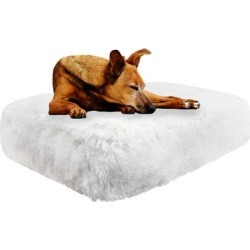 Bessie and Barnie Snow White Ultra Plush Faux Fur Luxury Shag Durable Sicilian Rectangle Pet Bed, 32