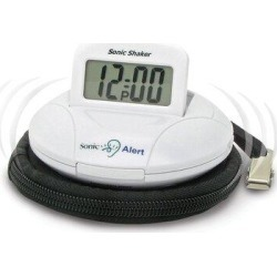Sonic Alert Sonic Boom Portable Vibrating Alarm ClockPlastic/Acrylic in White, Size 1.5 H x 1.5 W x 3.5 D in   Wayfair SBP100 found on Bargain Bro Philippines from Wayfair for $52.99