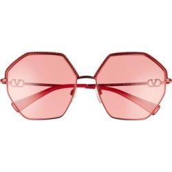 59mm Crystal Trim Geometric Sunglasses - Red - Valentino Garavani Sunglasses found on Bargain Bro Philippines from lyst.com for $498.00