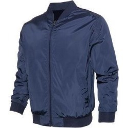 Mens Zipper Bomber Jacket Solid Color Lightweight Polyester Casual Regular Fit (Navy - L), Men's, Blue found on Bargain Bro India from Overstock for $25.41