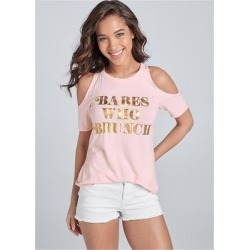 Babes Who Brunch Tee Loungewear - Pink found on Bargain Bro India from Venus.com for $26.00