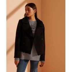 Wool Crop Peacoat - Black - Superdry Coats found on Bargain Bro Philippines from lyst.com for $67.00