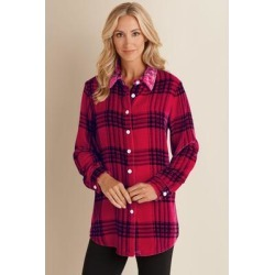 Women's Plaid Velvet Big Shirt by Soft Surroundings, in Moroccan Red size 2XS (0)