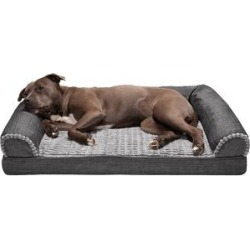 Furhaven Pet Products Pet Beds - Charcoal Luxe Linen Orthopedic Sofa Pet Bed found on Bargain Bro from zulily.com for USD $83.58