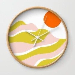 Wall Clock | Sierra Mountain Sunset by Sunshinecanteen - Natural - White - Society6 found on Bargain Bro India from Society6 for $25.59