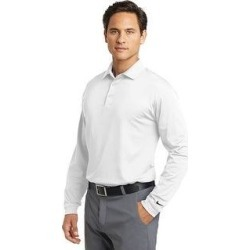 Nike Men's Long Sleeve Dri-Fit Stretch Tech Polo (L - White)(knit, embroidered) found on Bargain Bro India from Overstock for $49.99