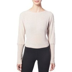 Splendid Women's Ribbed Knit Tie Back Long Sleeve Activewear Fitness Top (Oatmeal Heather - L), Oatmeal Grey found on Bargain Bro from Overstock for USD $12.65