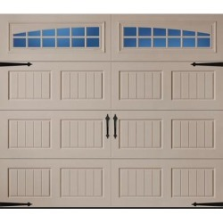 Amarr Hillcrest 3138 Carriage House Garage Door - Short Bead Board Panel Design - Sandtone 9 x 7 Moonlite Window found on Bargain Bro from samsclub.com for USD $874.00