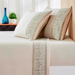 Jacquard Flat Sheets King Sandstone