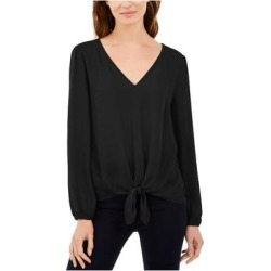 INC Womens Black Long Sleeve V Neck Top Size XS (Black - XS), Women's(Polyester, Solid) found on Bargain Bro India from Overstock for $11.98