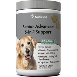 NaturVet Senior Advanced 5-in-1 Support Soft Chews Dog Supplement, 120 count