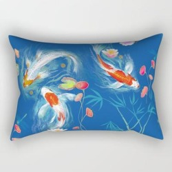 "Blue Japanese Water Garden Rectangular Pillow by Designed By Debby - Small (17"" x 12"")"