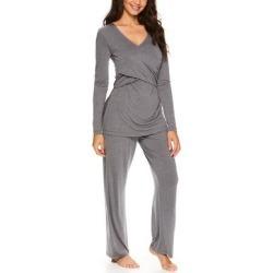 Lamaze Maternity Intimates Women's Sleep Bottoms CHHE - Charcoal Heather Layered-Front Nursing Pajama Set found on Bargain Bro India from zulily.com for $21.99