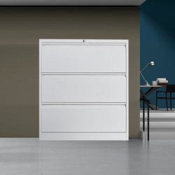 Inbox Zero 3 Drawers Horizontal File Cabinet w/ Lock, Metal Stainless Steel Wide Horizontal File Cabinet, Office Storage Cabinet in White | Wayfair found on Bargain Bro Philippines from Wayfair for $439.99