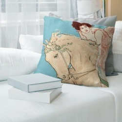 Porch & Den 'Vintage Horse Riding Circus Girl' Throw Pillow found on Bargain Bro from Overstock for USD $66.87