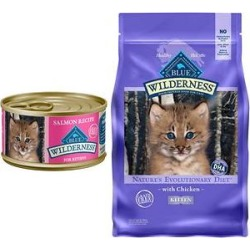 Blue Buffalo Wilderness Kitten Salmon Grain-Free Canned Food + Chicken Recipe Grain-Free Dry Cat Food found on Bargain Bro from Chewy.com for USD $35.87